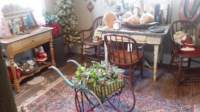 ANTIQUE PAINTED FLOWER CART, PINE WASH STAND, OLD FARM TABLE with METAL TOP, CHRISTMAS ITEMS