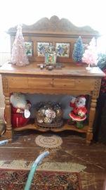 PINE WASHSTAND, VINTAGE CHRISTMAS ITEMS