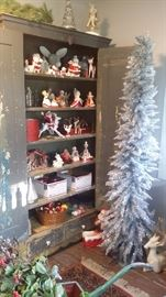 ANTIQUE FARM HOUSE CLOSET with 2 DRAWERS filled with VINTAGE CHRISTMAS including Holt Howard and Nasco FIGURINES