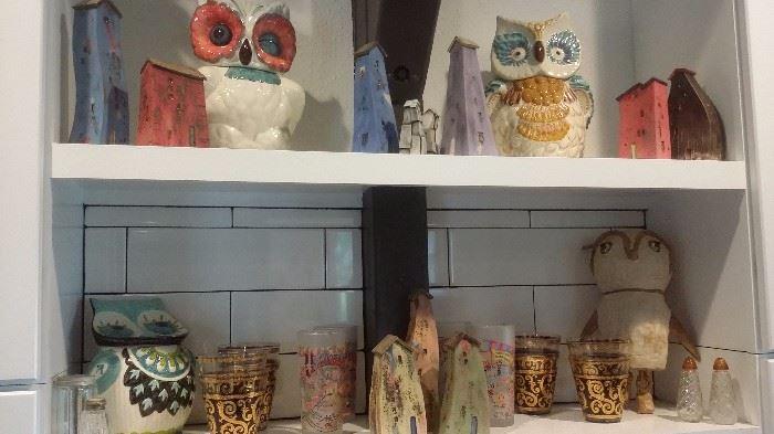 HTF ANTHROPOLOGIE OWL COOKIE JARS & TODD VAN DUREN CLAY HOUSES