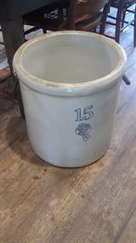 EXCELLENT ANTIQUE 15 GALLON CROCK WITH HANDLES (BUCKEYE POTTERY CO.---BLUE RIBBON BRAND)