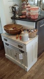 OLD PINE WASHSTAND with MARBLE TOP, WOOD BOWLS, VINTAGE UTENSILS & COOKIE CUTTERS, PINK PYREX , ITALIAN CANISTERS