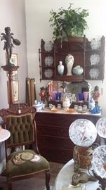 ANTIQUE 4 DRAWER LOW BOY with MARBLE TOP,  VICTORIAN WALL SHELF with CANOPY TOP, VICTORIAN CHAIR, TALL SPINDLE FERN STAND with BRONZE STATUE