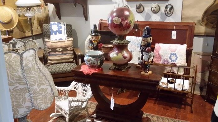 ANTIQUE FLAME MAHOGANY EMPIRE GAME TABLE, ANTIQUE GWTW PARLOR LAMP,  Ulbricht Nutcrackers, VINTAGE QUILTS, WICKER CHILD ROCKER