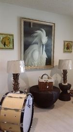 LARGE OIL on CANVAS, PR. WOOD BASE LAMPS, WOVEN WOOD STANDS, VINTAGE PEARL DRUM