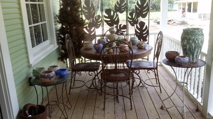 IRON SCREEN, WOOD & METAL TABLE with 4 CHAIRS, OZARK ROADSIDE TOURIST POTTERY