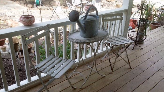 TWO FRENCH BISTRO FOLDING GARDEN CHAIRS, OVAL METAL GARDEN TABLE