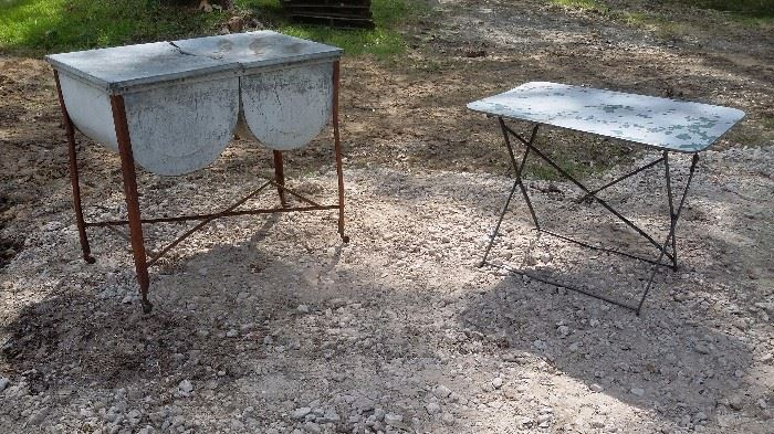 OLD DOUBLE WASH TUB & DRYING TABLE