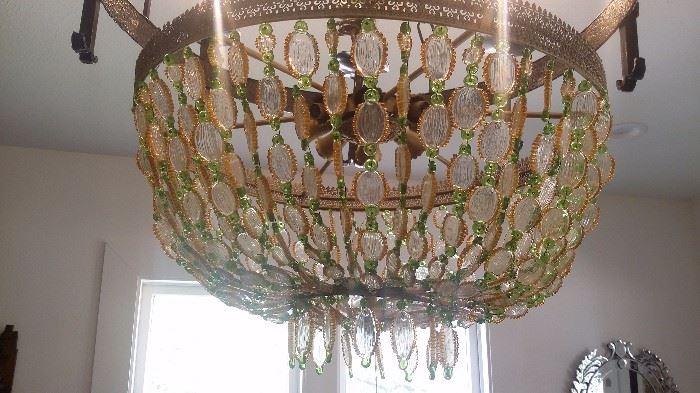 ITALIAN GREEN & GOLD BEADED GLASS CHANDELIER