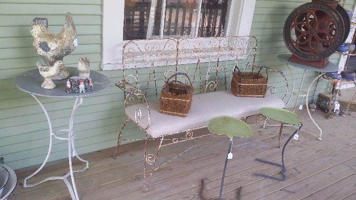 ANTIQUE FRENCH GARDEN BENCH AND 2 SARTINI NESTING LEAF TABLES
