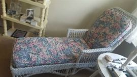 $125 White wicker chaise lounge
