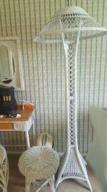 White wicker floor lamp   $50