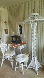 White wicker desk    $40   Wicker chair  $20  White stool   $16
