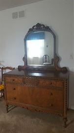 Antique dresser with mirror   $250
