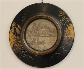 c. 1800 silk embroidered image of Alexander Pope's villa at Twickenham in a later Japanesque style lacquer frame