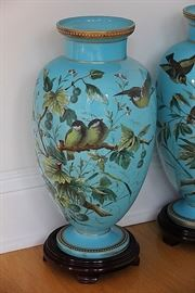 beautiful hand enameled Czech opaline art glass vases with birds, c. 1870s (hairline on base)