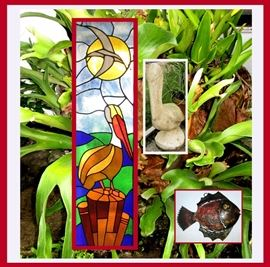 Old Florida Charm, Staghorn Fern, 2 Large Stained Glass Windows, Small Metal Fish and Cement Pelican