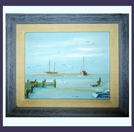 Lovely Oil Painting of Boats, Seagulls and a Pier