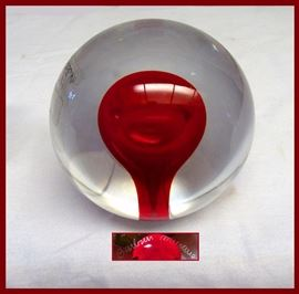 Alfredo Barbini Signed Murano Glass Paperweight with Original Label
