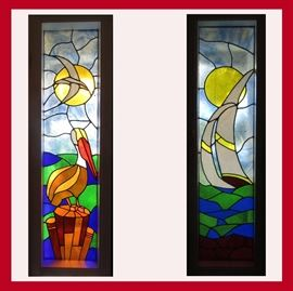 Pair of Tall Stained Glass Windows