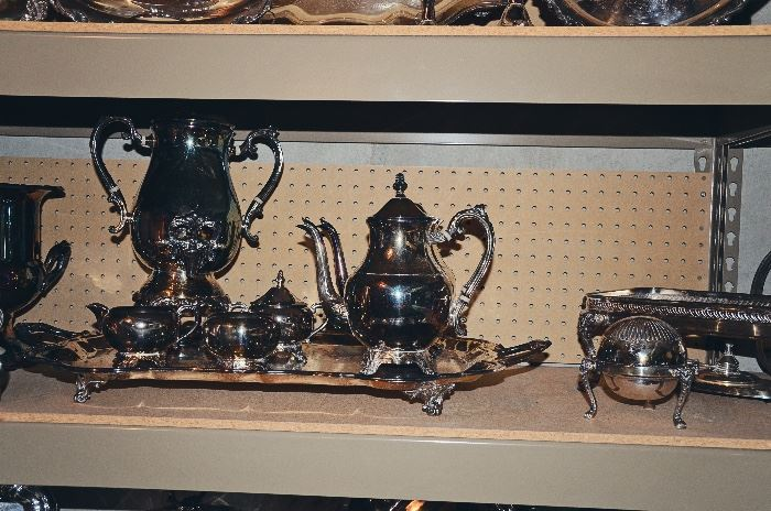 Silver Serving Platters, Candlesticks, Bowls, Tea & Coffee Sets