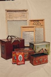 Washboards, Union Leader & Lipton Tea Tins