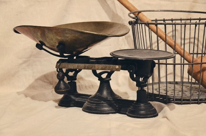 Cast Iron Counter Weight Balance Scale, Egg Basket, Butter Churn Dasher