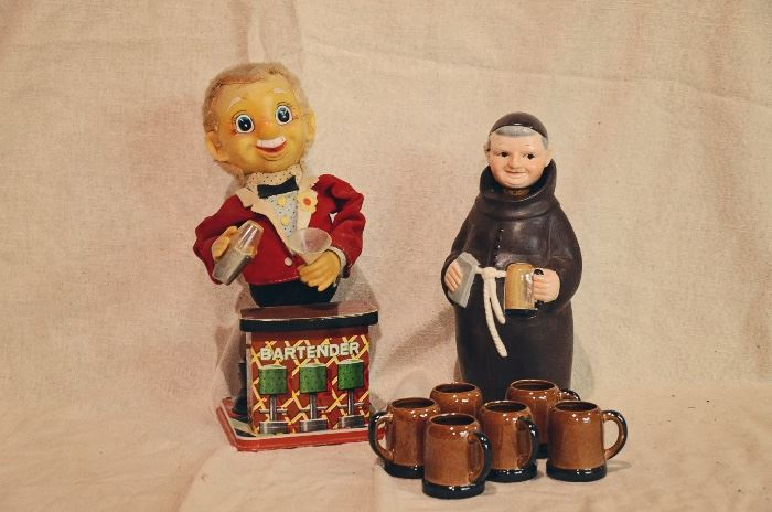 "1960's Rosko Battery Operated Smoking Ear Bartender, 1950's Friar Tuck Monk Figural 10"" Decanter with Mugs"