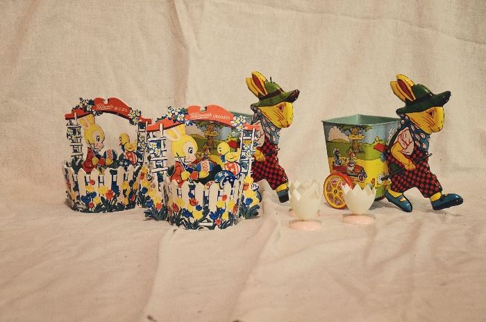 2 Chein Litho Tin Toys Easter Bunny, 2 Dolly Toy Co. (1952) Whitman's Chocolates Cardboard Easter Basket