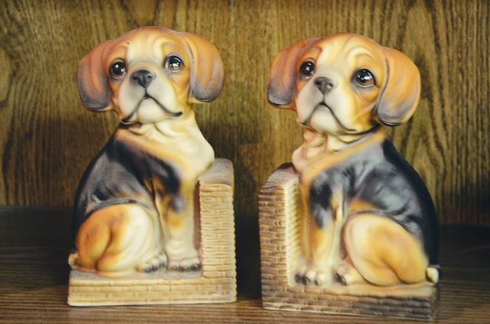 Ceramic Beagle Bookends