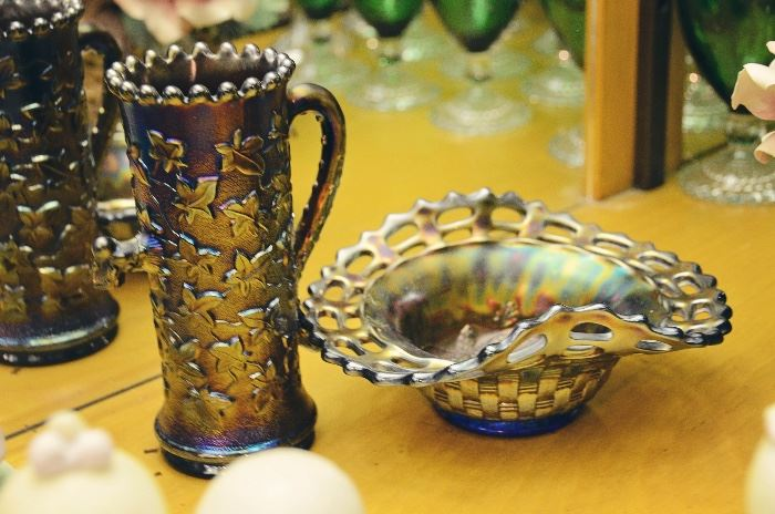 "Carnival Glass Northwood ""Ivy Town Pump"", Lattice Basketweave Bowl"