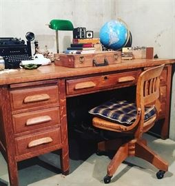 Antique Teacher's Desk from School in Walden, CO, Wooden Swivel/Rolling Desk Chair, Globe, Desk Lamp, Royal Typewriter, Vintage Cameras, Leather Working Tools