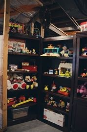 Vintage Toys and Wooden Bookshelves