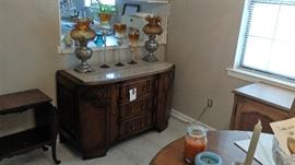 ENGLISH STYLE SERVER WITH MARBLE TOP ,BRASS OIL LAMPS WITH FENTON GLOBES,TWO TIER SIDE TABLE