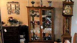 MILK GLASS; CARNIVAL GLASS; GRANDFATHER CLOCK ,(curio not for sale)