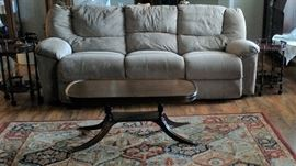 SOFA WITH TWO RECLINERS; DUNCAN PHYFFE COFFEE TABLE
