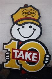 Large 55 Inch Vintage Pennzoil Store Front Sign