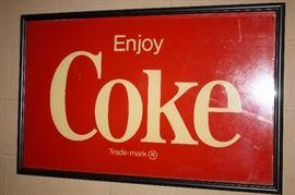 Large Vintage Framed Coca Cola Sign
