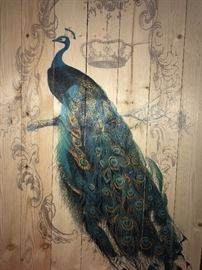 BEAUTIFUL PEACOCK PAINTING ON WOOD