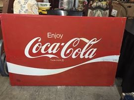 1970's Coca-Cola large metal advertising sign