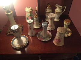 Antique Hatpin Holder collection, porcelain, hand decorated, and a very nice lamp made from an antique hatpin holder, as shown.