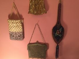 A nice selection of vintage beaded bags, 1920-1940, as well as vintage bags from the 1950s-60s