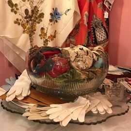 No punch?  Use your punch bowl to hold your wonderful collection of vintage scarves and gloves!
