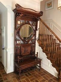 Monumental antique Victorian walnut hall tree.