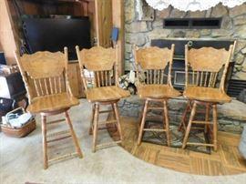 Oak, pressed back, swivel bar stools