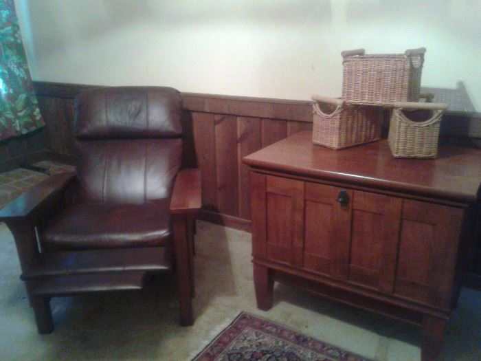 leather recliner and filing cabinet