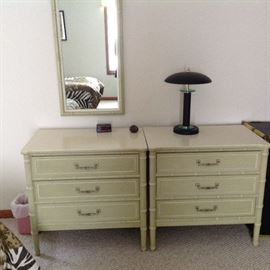 Two 3-Drawer Chests and Matching Mirror