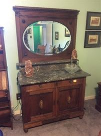 Antique server with mirror and marble top
