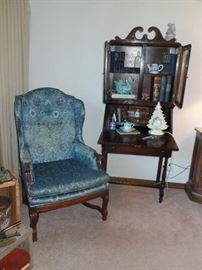 Wing back chair and, beautiful secretary desk