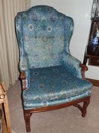 Close-up of wing back chair